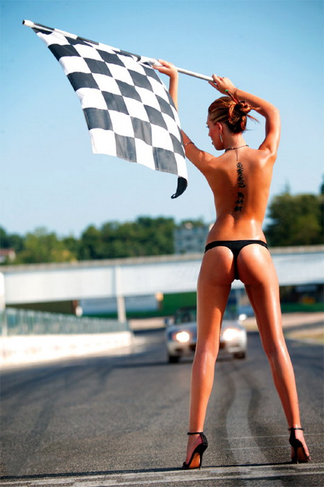 Nude women and race cars